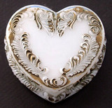 Milk Glass Heart Shaped Dresser Jar