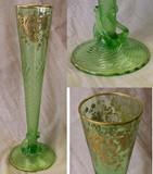 Moser Tripod Green Glass Gilt Decorated Trumpet Vase