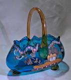 French Art Nouveau Glass Basket Hand Painted Japoisme