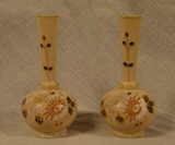 Pair of Antique Victorian Glass Hand Painted Bud Vases