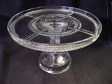 Argent or Rope Bands Antique Glass Pedestal Cake Plate