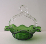 Art Glass Basket - Green w Clear Thorn Handle