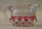 Banded Portland or Virginia Pattern Glass Creamer Rose Stain Maiden's Blush