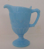 Blue Opaque Glass Shell & Web Creamer