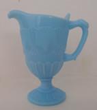 Blue Opaque Glass Shell & Web Creamer