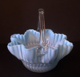 Cased Glass Basket with Beaded Ribbed Pattern