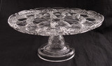 Diamond Block with Fan Victorian Glass Pedestal Cake Stand