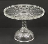 Fan and Diamond Pattern Glass Pedestal Cake Stand