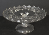 Nailhead or Gem Antique Glass Pedestal Cake Stand