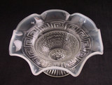 Greek Key and Scales White Opalescent Glass Bowl