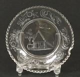 Log Cabin Flint Glass Cup Plate Lee #594