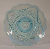 Wishbone and Drape Blue Opalescent Glass Plate