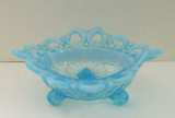 Shell and Wild Rose Blue Opalescent Glass Candy Dish