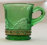 Colorado Pattern Glass  Lacy Medallion Green Mug