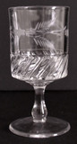 Antique Cyclone Pattern Glass Goblet w Flower & Fern Engraving