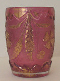 Delaware Pattern Cranberry Glass with Gold Tumbler