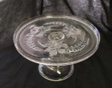 Bleeding Heart Pattern Glass Pedestal Cake Stand