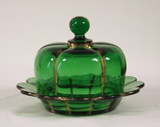 X-Ray Pattern Green Glass w Gold Butter Dish