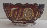 Carnation Ruby Stained Glass Berry Bowl  EAPG