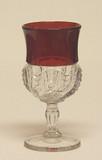 Scalloped Swirl / York Herringbone Ruby Stained Wine Glass EAPG