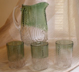 Leaf Medallion Water Set Green Stained  West VA Glass
