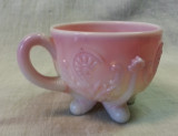 Northwood Glass Inverted Fan and Feather Pink Slag Glass punch cup