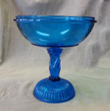 Atterbury Glass Sapphire Blue Hand Stem Compote