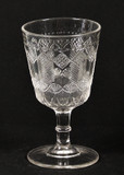 Herringbone Pattern Glass EAPG Goblet