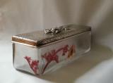 Daum French Art Nouveau Cameo Glass Enameled Handkerchief Box Silver Lid