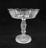 Three Face HUBER Etched Glass Compote