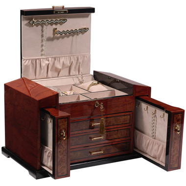 Two vertical pullout drawers with necklace hooks for additional necklace storage.