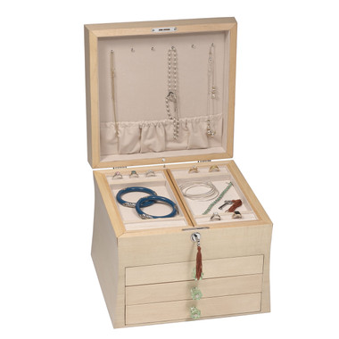 Six nickel necklace hooks in the lid accommodate fine chains with storage for large and multi strand necklaces in the two sliding panels below.
