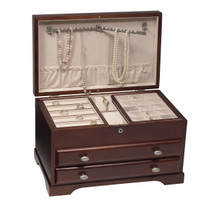 The lid features two necklace bars designed to secure twenty large necklaces or beaded strands with ten additional necklace hooks .