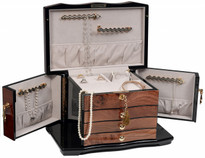 Hinged cover reveals necklace bars and pouch in lid to secure hanging necklaces.
