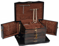 2 locking swing-out doors and eight necklace hooks. Additional necklace bars with pouch in lid to safety secure necklaces.