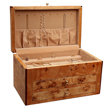 "Lid opens to reveal necklace hooks and pouch in lid to secure necklaces when closed. Jewelry box dimensions: 16 1/4"" x 9 7/8"" x 9""."