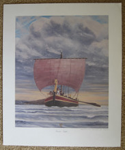Tamar Tephi comes to Ireland, a color lithograph by Douglas Nesbit, reprinted for display in home.