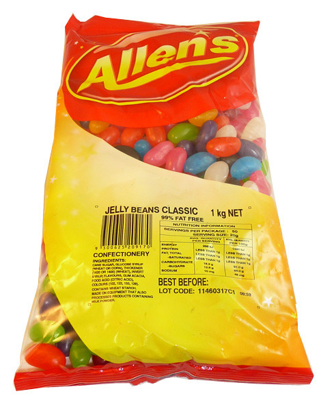 Allens Jelly Beans, by Allens Confectionery,  and more Confectionery at The Professors Online Lolly Shop. (Image Number :3637)