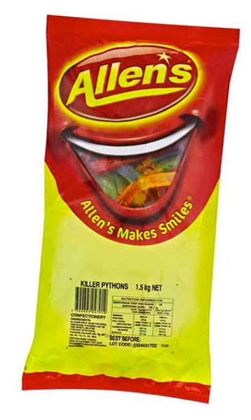 Allens Killer Pythons, by Allens Confectionery,  and more Confectionery at The Professors Online Lolly Shop. (Image Number :6230)