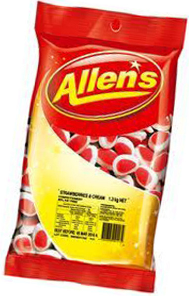 Allens Strawberries and Cream, by Allens Confectionery,  and more Confectionery at The Professors Online Lolly Shop. (Image Number :6232)