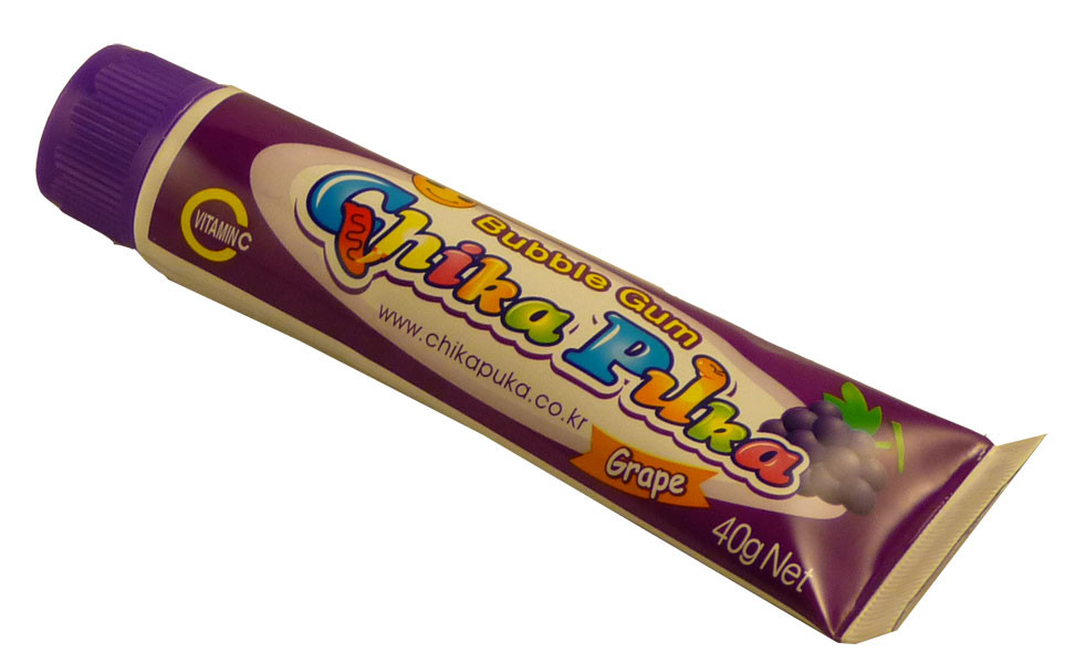 Chika Puka Squeezable Bubble Gum Grape, by Candy Brokers,  and more Confectionery at The Professors Online Lolly Shop. (Image Number :2235)