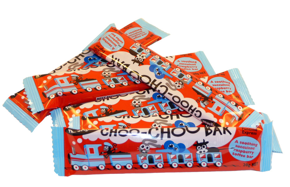 Choo-Choo Raspberry Bars, by Lagoon Confectionery,  and more Confectionery at The Professors Online Lolly Shop. (Image Number :2240)