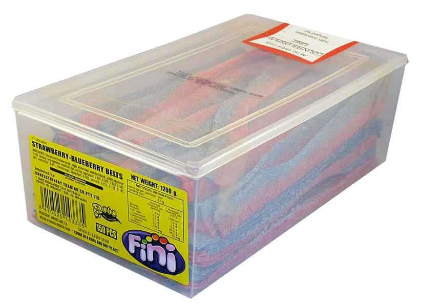Fini Strawberry and Blueberry Belts, by Fini,  and more Confectionery at The Professors Online Lolly Shop. (Image Number :1995)
