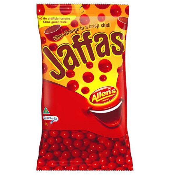 Allens Jaffas, by Allens Confectionery,  and more Confectionery at The Professors Online Lolly Shop. (Image Number :6368)