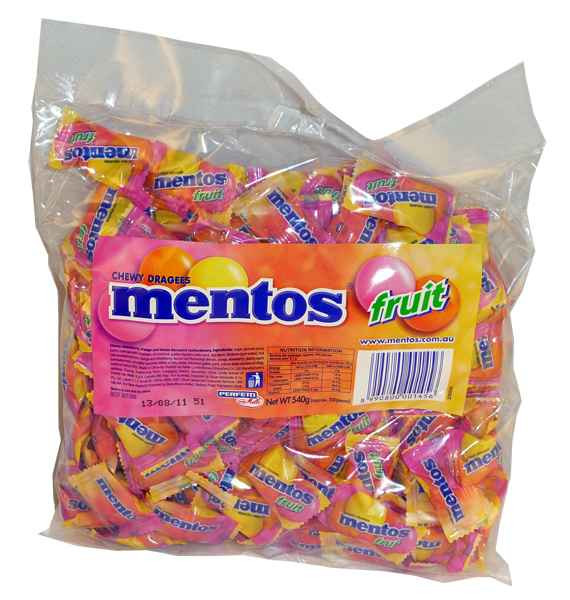 Mentos Pillowpack - Fruit, by Perfetti Van Melle,  and more Confectionery at The Professors Online Lolly Shop. (Image Number :2070)