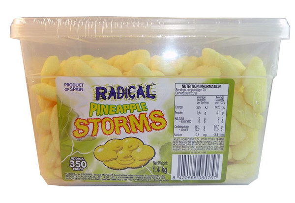 Radical Storms - Pineapple, by AIT Confectionery,  and more Confectionery at The Professors Online Lolly Shop. (Image Number :2894)