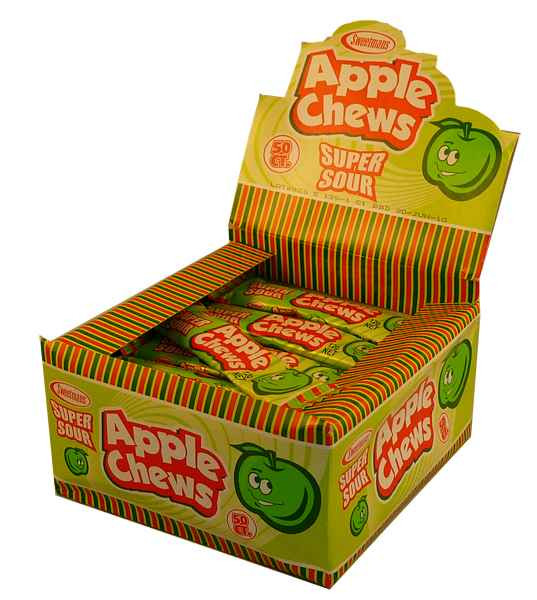 Sour Apple Chews, by Sweetmans,  and more Confectionery at The Professors Online Lolly Shop. (Image Number :2133)