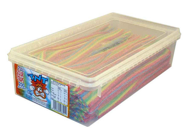 TNT Sour Straps Multi-Colour, by TNT,  and more Confectionery at The Professors Online Lolly Shop. (Image Number :2155)