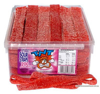 TNT Sour Straps Strawberry, by TNT,  and more Confectionery at The Professors Online Lolly Shop. (Image Number :8906)
