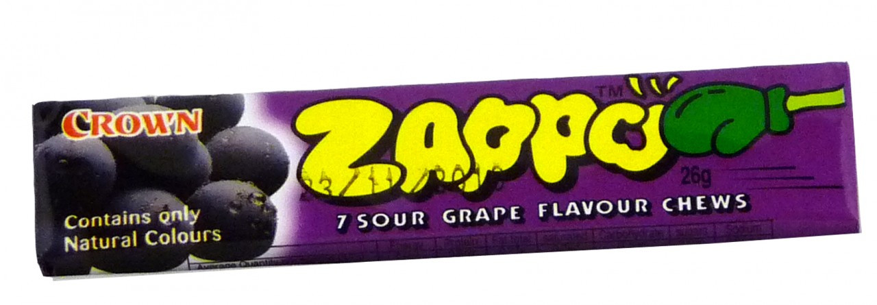 Zappo - Grape Chews, by Crown Confectionery,  and more Confectionery at The Professors Online Lolly Shop. (Image Number :2339)